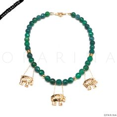 Collar de Agathas Verdes com Dijesitos de Elefantes para la Prosperidad. #oparina #prosperidad #prosperity #naturalstone #gemstone #elephant #elefante #boho #bohochic #gypsy #agatha  #madewithstudio