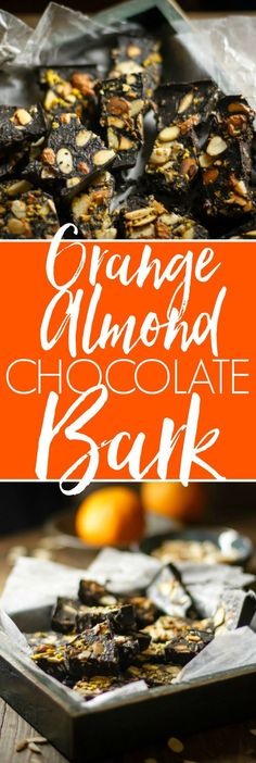 Orange Almond Coconut Oil Chocolate Bark - if you're craving chocolate, you've got to make this! Vegan, gluten free, no refined sugar and made with simple, real food ingredients. Coconut Oil Chocolate, Chocolate Bark, Chocolate Desserts, Craving Chocolate, Vegan Chocolate, Chocolate Chips, Delicious Chocolate, Candy Recipes, Real Food Recipes