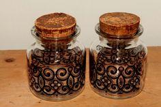 Retro - Bilton (Stonehaven) glass storage jars 1970 s 80 s 5x4ins cork stoppers