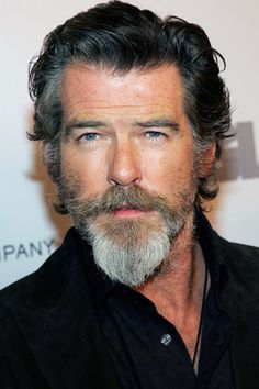 Pierce Brosnan grew a full goatee for his role as a Cambridge professor in How To Make Love Like An Englishman. Goatee Styles, Beard Styles For Men, Hair And Beard Styles, Facial Hair Styles, Van Dyke Beard, Salt And Pepper Beard, Hipster Bart, Bart Styles, Stars D'hollywood