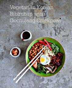 Who doesn't love a bowl meal all to themselves? Why not treat yourself to this vegan version of the popular Korean dish, bibimbap? Easy to sort toppings including kimchi, stir-fried shiitake, fried egg and spicy chickpeas make this a nutritious, colourful and assertively umami-ish dish. Easily scaled up for feeding the family or friends.