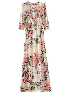 The dress is featuring deep v neck, pullover styling, half sleeve, floral printing, high waist, ankle length and a-line silhouette.