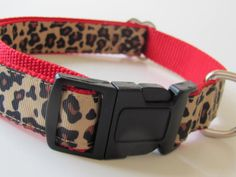 Leopard Dog Collar  on Pink  Red or Brown by AboutYourDogs on Etsy, $18.00
