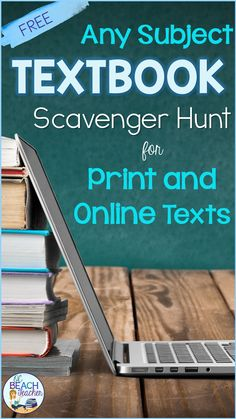 Help middle school and high school students learn to navigate their online (or print) textbooks effectively with these activities that include an anchor chart and scavenger hunt.  This makes an excellent activity for back to school when teachers are establishing their classroom management.  This free resource is available for distance learning, hybrid learning, or in-class instruction and can be used with any subject that requires a textbook. #freebacktoschool #highschool #textbook #middleschool Close Reading Lessons, Reading Skills, Textbook Scavenger Hunt, Teaching American Literature, High School Subjects, Free Teaching Resources, Free Activities, Free Textbooks, Online Textbook