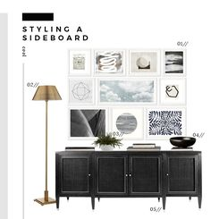 6 Ways to Style a Dining Room Sideboard - Esszimmer Ideen Dining Room Design, Dining Room Decor, Decor, Dining Room Sideboard, Black Sideboard, Vintage Dining Chairs, Sideboard, Sideboard Decor Dining Room, Dining Room Console