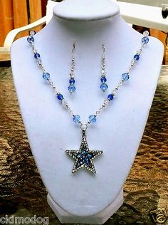 DALLAS COWBOYS INSPIRED GENUINE SWAROVSKI CRYSTAL SILVER NECKLACE EARRING SET $32.99