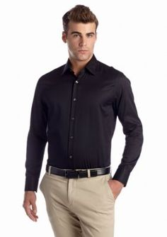 Vince Camuto Black Solid Sateen Spread Dress Shirt
