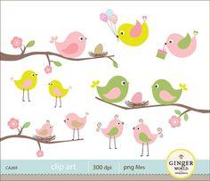 Spring bird egg nest clipart digital file by GingerWorld on Etsy, $5.50