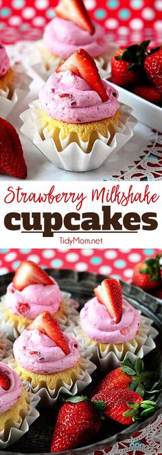 Fresh strawberries makes this Strawberry Buttercream the perfect complement to the french vanilla cake beneath in these Strawberry Milkshake Cupcakes. Get the full easy cupcake recipe at TidyMom.net
