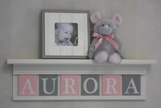"Name Letters, Name Blocks, PINK GRAY Nursery Decor, Baby Name Signs 24"" Linen White Shelf Custom 6 Name Plaques - AURORA - Unique Baby Gift on Etsy, $48.00"