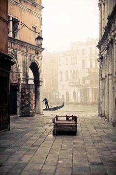 Venice in the fog, Italy.