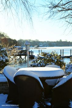 Snow at lake | homeiswheretheboatis.net #winter #snow #LakeNorman