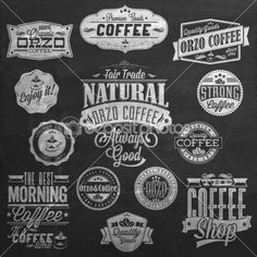 Set Of Vintage Retro Coffee Labels On Chalkboard . Coffee decoration collection. Set of calligraphic and typographic elements styled design, frames, vintage labels. Vector. — Stockvector © melindula #42046635