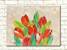 Red Tulips Oil Painting On Canvas Oil Painting Flowers Tulip