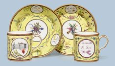 c1787 TWO SEVRES PORCELAIN PALE-YELLOW GROUND CUPS AND SAUCERS (GOBELETS 'LITRON' ET SOUCOUPES, 3EME GRANDEUR) PURPLE OR PUCE INTERLACED L'S ENCLOSING DATE LETTERS KK FOR 1787, THREE WITH PAINTER'S MARK FOR MME NOUALHIER, ONE SAUCER WITH MARK FOR ROGUIER Price realised USD 4,750