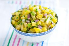 Easy pineapple salsa recipe with avocados, jalapeño, red onion, and fresh lime.