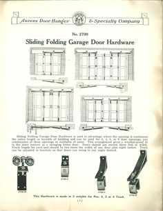 Vintage Obsession--Sliding Folding Garage Door Hardware--published by Aurora Door Hanger & Specialty Co., 1927.--I seriously love anything before 1975!!!--Obsessed.--