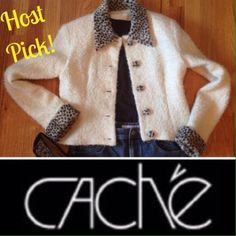 HP x 5  CASH'E Classy Jacket ♦️️REDUCED♦️ WW!!!  Awesome jacket. Off White color with animal print faux fur collar, cuffs, and covered buttons. Lined inside. 53% Mohair, 44% Wool, 3% Nylon. Super stylish and Classy!!!  Excellent condition!!!  Awesome price for this piece!!!  REDUCED!!!  Final price!!! Cache Jackets & Coats