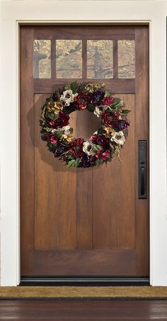 The Peony Passion Wreath has a dramatic allure that is perfect for fall. Hang its rich shades of purple, red and orange on your front door, making a beautiful first impression for your guests!