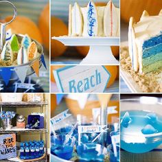 Beach theme party Surfboard shaped cookies around cake....simple way to dress up a birthday cake.
