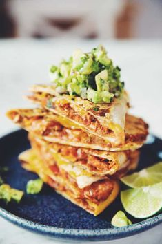 Saucy tinga filling, vegan cheese and and creamy guac are a dream combo! For a winning dinner, use them in jackfruit tinga quesadillas or a taco bake! Vegan Mexican Recipes, Vegetarian Recipes, Ethnic Recipes, Healthy Recipes, Canning Refried Beans, Vegan Mozzarella, Thing 1, Chicken Flavors, It Goes On