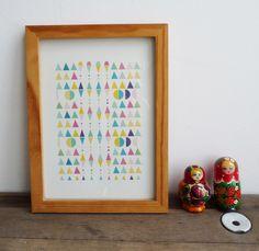Poster formes géométriques, triangles, losanges. 21 x29,7 cm : Affiches, illustrations, posters par mademoiselleyo
