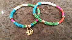 Beaded Bracelets TWO  Rainbow Wooden by GemsJewelsGirls on Etsy