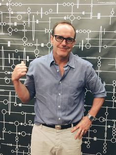 Clark Gregg with Agent Coulson Action Figure - Clark Gregg Fan Art - Fanpop Agents Of S.h.i.e.l.d, Shield Cast, Black Widow Winter Soldier, Clark Gregg, Fitz And Simmons, Marvels Agents Of Shield, Avengers Cast, Phil Coulson, Agent Carter