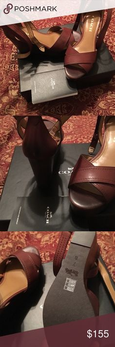 COACH High Heeled Wedges platform Gorgeous authentic and brand new with tags and box with card. MSRP $225.00 from Dillard's. These give the look of wearing high heels yet are far more comfy and absolutely beautiful!! They wrap around your ankle making your legs look super killer. Coach Shoes Wedges