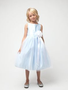 Sky Blue Satin and Tulle Flower Girl Dress in Sizes Infants-12 in 11 Colors