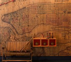 Love this map wall made of Veneered woods - Infused Veneer Panel Collection B INDUSTRIES