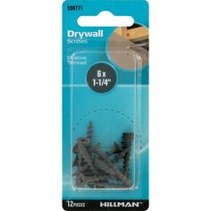 The Hillman Group 6  x 1-1/4 inch Coarse Drywall Screws, Black Phosphate, 12pk