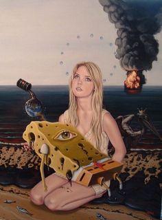 Erik Alos #art #painting #surreal #spongebob #death #oilspill #pollution #popart
