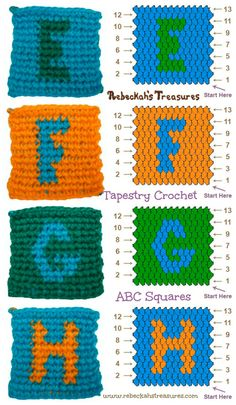 Tapestry Crochet Squares E to H Patterns (for ABC Blocks) via Diy Crochet Garland, Crochet Pouf, Tapestry Crochet, Crochet Gifts, Baby Blanket Crochet, Crochet Ideas, Free Crochet, Crochet Alphabet, Crochet Letters
