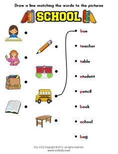 School vocabulary matching activity