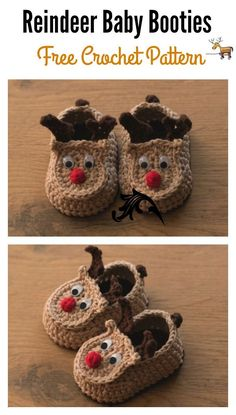 Baby Knitting Pattern Reindeer Baby Booties Free Crochet Pattern and Video Tutorial Booties Crochet, Crochet Baby Shoes, Crochet Baby Clothes, Free Form Crochet, Crochet For Kids, Christmas Crochet Patterns, Holiday Crochet, Crochet Crafts, Crochet Projects