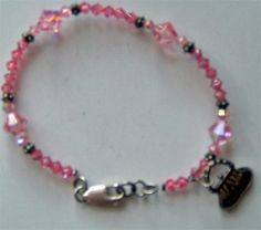 Pink Crystal Bracelet 6.75 with Free Shipping!!