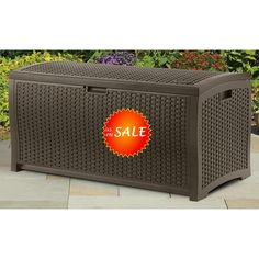 Contemporary Wicker Resin Stay Dry Cushion Patio Storage Deck Box Seating  Bench #Suncast