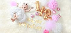 Party goods package recommended for half birthday celebration. 2nd Birthday Pictures, Half Birthday Baby, Half Birthday Cakes, Birthday Ideas, Birthday Cards, 6 Month Baby Picture Ideas, Baby Girl Pictures, Newborn Pictures, Milestone Pictures