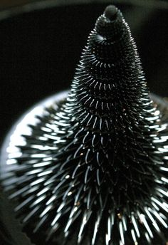 The combination of art and science can have mind-boggling results. Like Ferrofluid which becomes strongly magnetized in the presence of a magnetic field to an extent that it creates 3-dimensional fractal patterns and sculptures. More images - http://fractalenlightenment.com/14637/artwork/fractal-sculptures-with-magnetic-ferrofluid