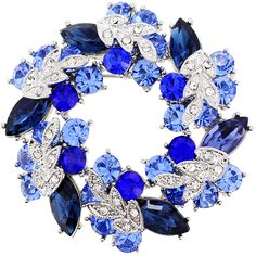 Multi- Blue Wreath Crystal Pin Brooch And Pendant