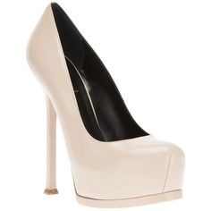 Saint Laurent 'Classic Tribute Two 105' pumps ($825) ❤ liked on Polyvore featuring shoes, pumps, heels, sapatos, zapatos, round cap, stiletto high heel shoes, stiletto heel pumps, nude heel shoes and round toe pumps