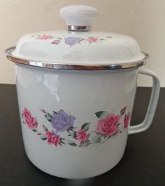 Vintage GMI Enamelware Canister Container Pan by RocktheJewels
