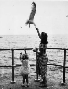 gueule-de-loupviolette:  A woman and her 3-year-old daughter feeding seagulls on the promenade during their holiday in St Ives, Cornwall ,1957. © Getty Images.