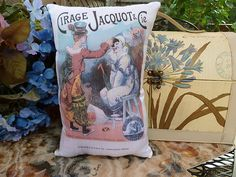 PILLOW WITH UNIQUE VINTAGE PRINT of FRENCH POSTER FOR THE CIRCUS with CLOWNS.. $15
