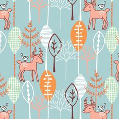 Deer and bird in a forest of trees Lily Pink Studio Copyright © lilypinkstudio 2014 all rights reserved