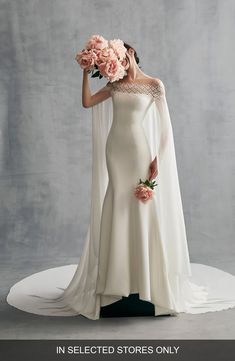 Buy INES BY INES DI SANTO Danica Off the Shoulder Gown with Cape for shopping. [$3490]?@ 1newuspro