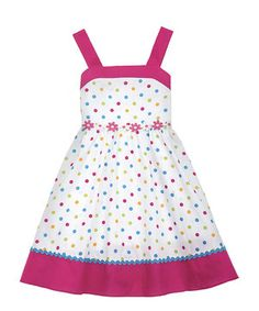 This White & Fuchsia Polka Dot A-Line Dress - Girls by Rare Editions is perfect! #zulilyfinds