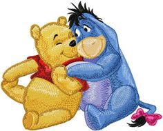 Eeyore and Winnie Pooh friends machine embroidery design