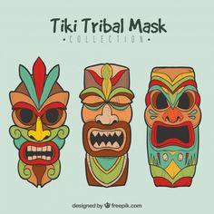 Ensemble coloré de masques exotiques exotiques Vecteur gratuit